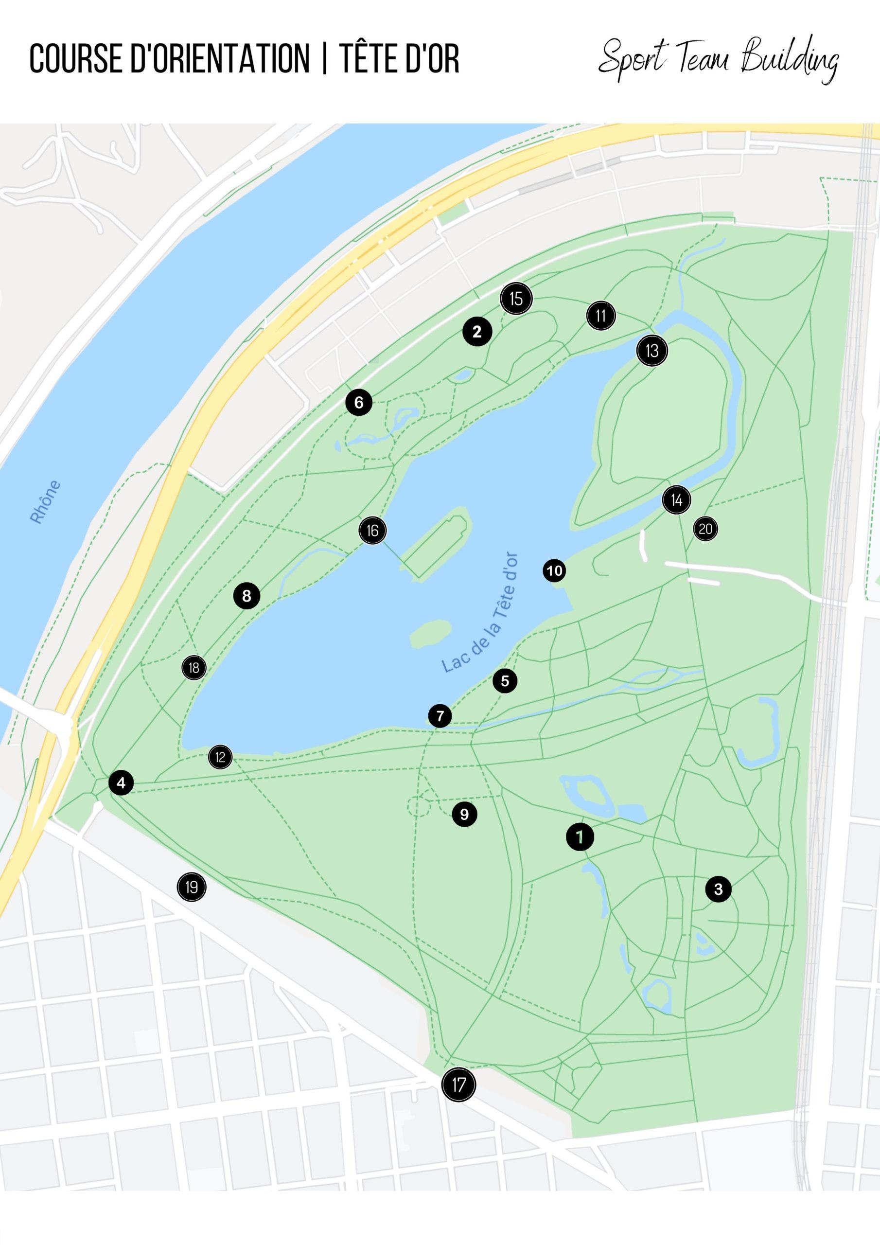 course d'orientation dans le parc de la tête d'or à lyon